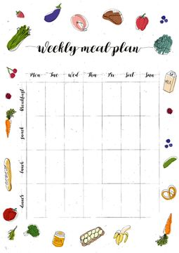 Weekly Meal Plan with Food illustrations