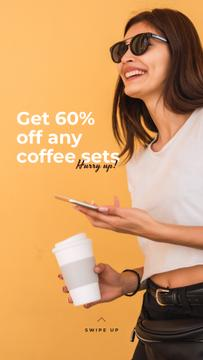 Coffee Shop promotion with happy Woman
