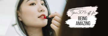 Beauty Sale with Woman applying Lipstick