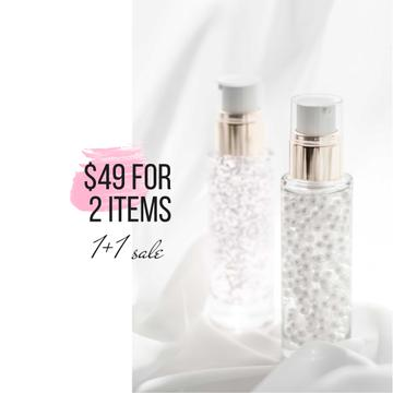 Skincare product ad with cream in Bottles