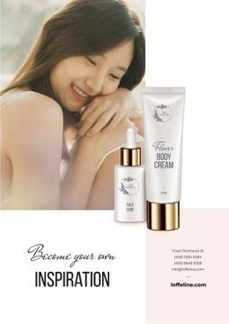 Skincare Products ad with Young Woman
