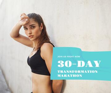 Fitness Marathon ad with Sportive woman