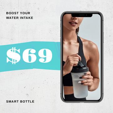 Sportive Woman holding Water Bottle