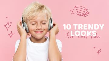 Boy listening to music in Headphones