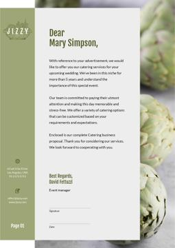 Catering Services with green artichokes