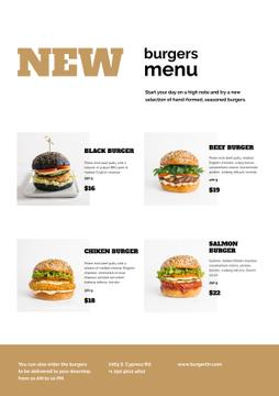 Variety of delicious Burgers