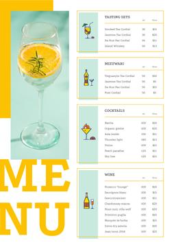 Bar offer with Cocktail drink
