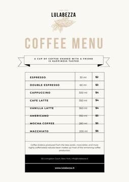Coffee Shop beverages