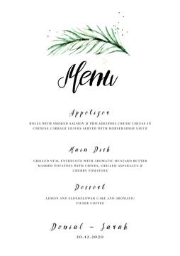 Wedding Meal list with leaf