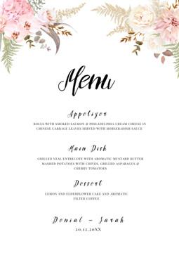 Wedding Meal list with leaf