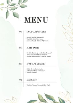 Course dishes in elegant style