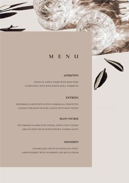 Card with meal courses