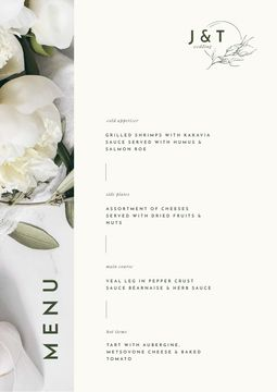 Food Dishes Offer with Tender White Peonies