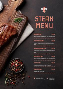 Steak House dishes list