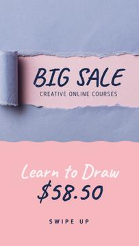 Creative Courses Offer Torn Paper in Blue