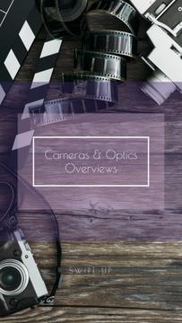 Vintage Film Cameras on Wooden Board