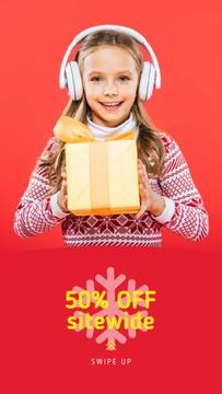 Christmas Offer Girl in Headphones with Gift