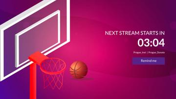 Basketball Basket with Ball on Pink