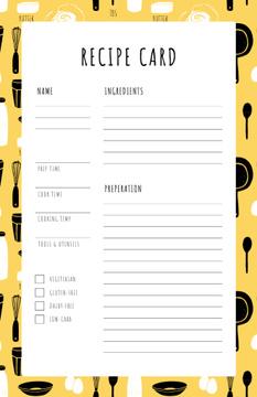 Cutlery pattern on Yellow