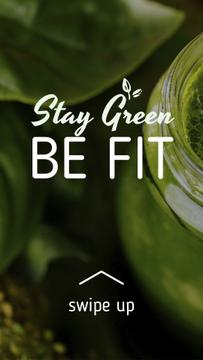 Green smoothie in glass jar