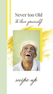Happiness Quote Laughing Old Man