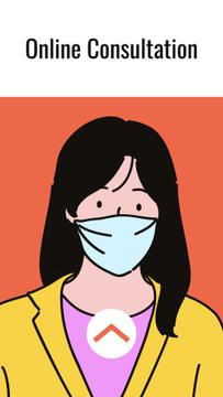 Medical consultation ad with Woman wearing mask