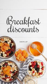 Breakfast Offer Honey and Dried Fruits Granola