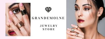 Jewelry Store Ad with Girl in Precious Rings