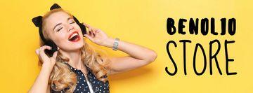 Store Sale Woman in Headphones