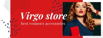 Fashion store ad with Woman in Red and Blue