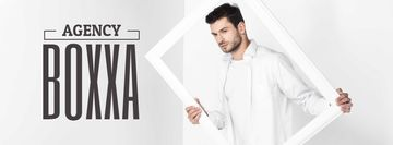 Creative agency ad Man Holding Frame in White