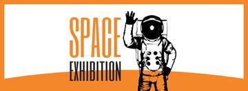 Space Exhibition Astronaut Sketch in Orange