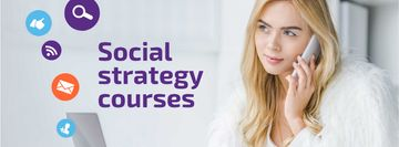 Social Media Course Woman with Laptop and Smartphone