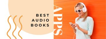 Audio books Offer with Woman in Headphones