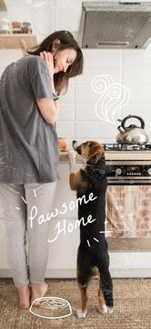 Woman with Dog at cozy kitchen
