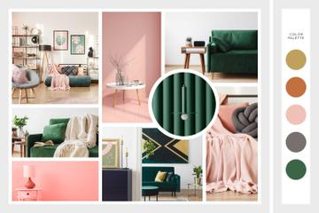 Cozy interior in pink and green