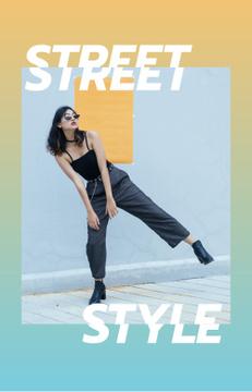 Stylish Girl on walk in City