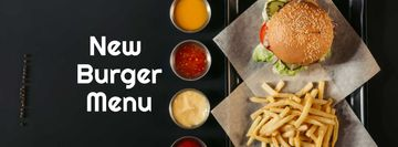 Fast Food Menu offer Burger and French Fries