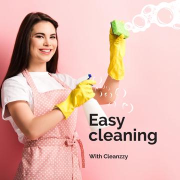 Cleaning Services Worker spraying detergent