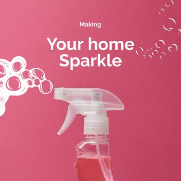Cleaning Services promotion with pink spray
