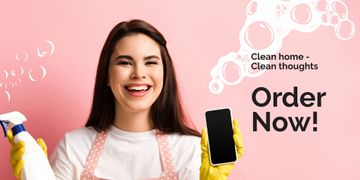 Smiling Cleaner with Detergent and Smartphone