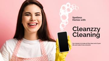 Smiling Woman for Cleaning services ad